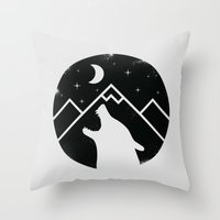 howl Throw Pillows featuring Howl by Mateus Quandt