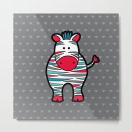 Doodle Zebra on Grey Triangle Background Metal Print