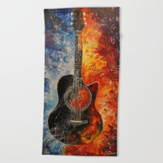 The rhythms of the guitar Beach Towel