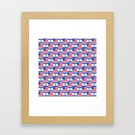 Mix of flag: usa and israel Framed Art Print