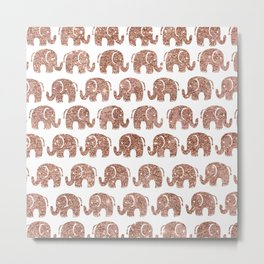 Hand drawn cute rose gold glitter elephant pattern Metal Print