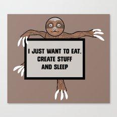 Eat, Create and Sleep Canvas Print