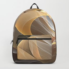 Brown, Beige And Gray Abstract Fractals Art Backpack