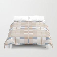 Beige and Blue Color Blocks Geometric Pattern Duvet Cover
