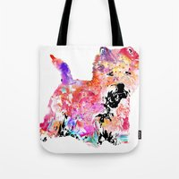 westie Tote Bags featuring Jillian the Westie by free in the lines