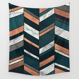 Abstract Chevron Pattern - Copper, Marble, and Blue Concrete Wall Tapestry