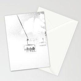 Snow Blasted // Black and White Ride on the Skilift in Blizzard Wind Stationery Cards