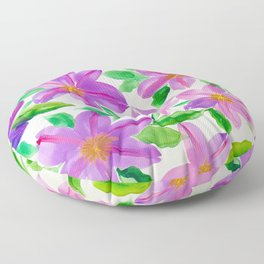 Clematis Vine Floral Watercolor Floor Pillow