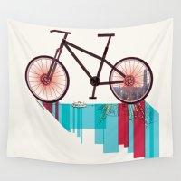 hong kong Wall Tapestries featuring Discover Hong Kong Bicycle by CarmanPetite