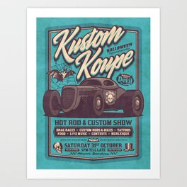 Vintage Style Fictional Halloween Hot Rod Show - Cyan Art Print