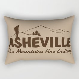 Asheville - The Mountains Are Calling - AVL 2 Brown On Brown Rectangular Pillow