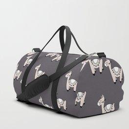 Cute little baby Llama alpaca illustration pattern neutral nursery gray Duffle Bag