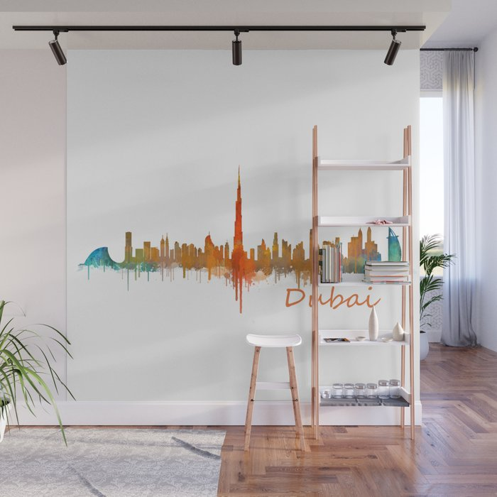 Dubai Emirates City Cityscape Skyline Watercolor Art V2 Wall Mural