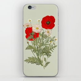 A country garden flower bouquet -poppies and daisies iPhone Skin