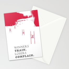 Ski Racing - Winners Train Losers Complain - Red Stationery Cards