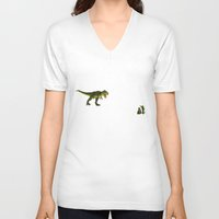 trex V-neck T-shirts featuring Dinosaurs vs Toy Soldiers by Andrea Vietti