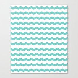 Turquoise Aqua Blue Zig Zag Pattern Canvas Print