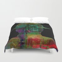 oil Duvet Covers featuring oil worker by Joe Ganech