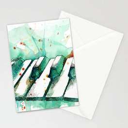Watercolor Piano (Teal) Stationery Cards