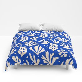 matisse pattern with leaves in blu Comforters
