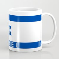 israel Mugs featuring Israel country flag name text  by tony tudor