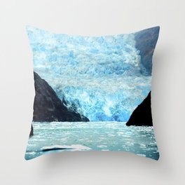 Alaska Majestic Blue Ice Glacier Flowing Into Cove Throw Pillow