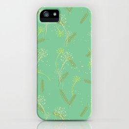 Whimsical dandelion and wheat pattern on sage iPhone Case