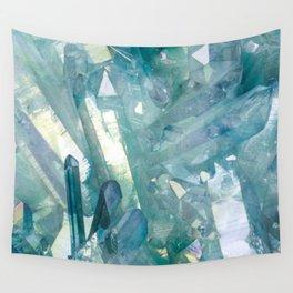 Sparkling Light Blue Crystal Shards Wall Tapestry