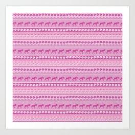 Moose Pink Pattern Art Print