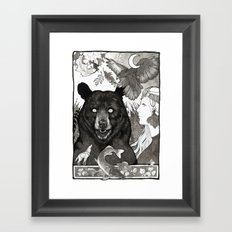 Bear, wolf, pike and falcon Framed Art Print