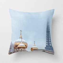 Snowfall over Holy Trinity Russian Orthodox Cathedral - Paris Throw Pillow