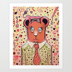 Bear Collaboration (Pink) Art Print