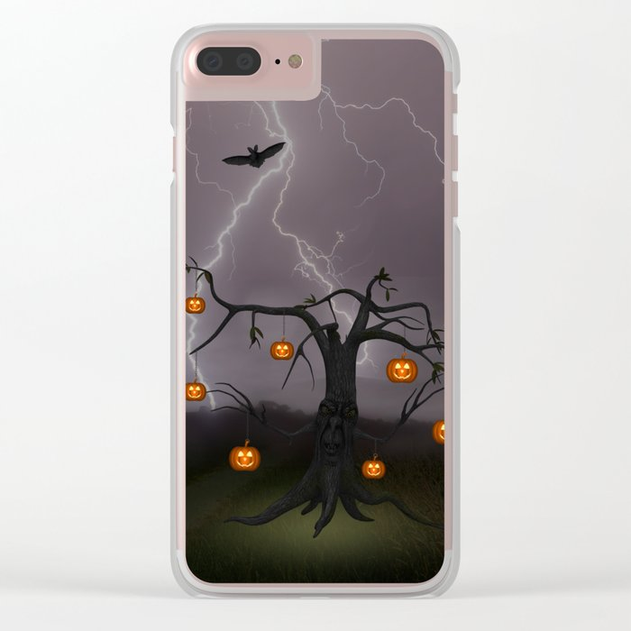 SCARY HALLOWEEN TREE Clear iPhone Case
