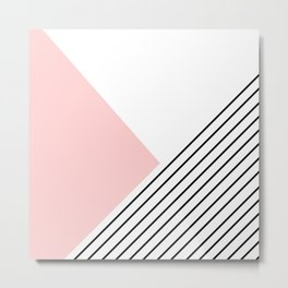 Pink angles and stripes Metal Print