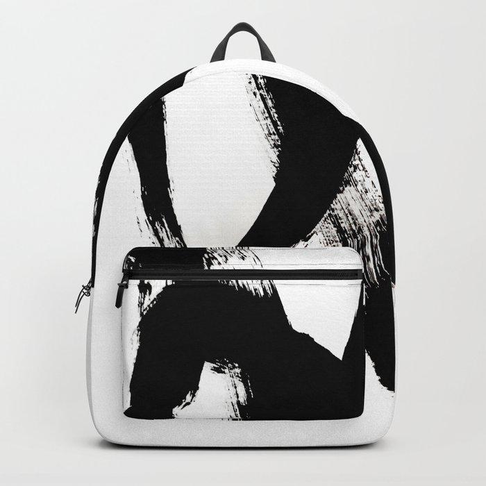 Brushstroke 2 - simple black and white Rucksack