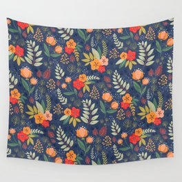 Navy Floral Wall Tapestry