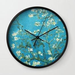 Vincent van Gogh Blossoming Almond Tree (Almond Blossoms) Light Blue Wall Clock