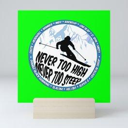 Ski Neon Green 2 Mini Art Print