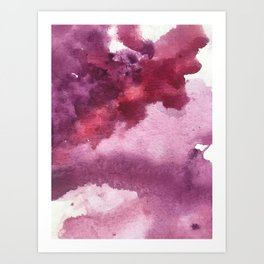 Blushing [5]: a minimal abstract watercolor and ink piece in shades of purple and red Art Print