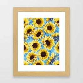 Dreamy Sunflowers on Blue Framed Art Print