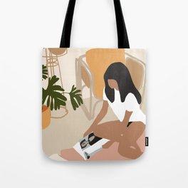 Lovely girl reading book illustration Tote Bag