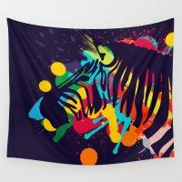 zebra Wall Tapestries featuring ZEBRA by mark ashkenazi