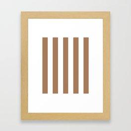 Café au lait brown - solid color - white vertical lines pattern Framed Art Print