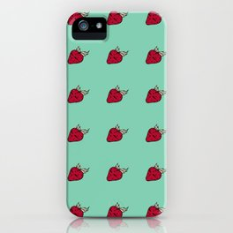 Strawberry summer blue pattern iPhone Case