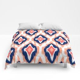 MODERN IKAT TRIBAL PATTERN | coral navy white Comforters