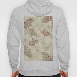 Pastel brown pink  green autumn leaves floral Hoody