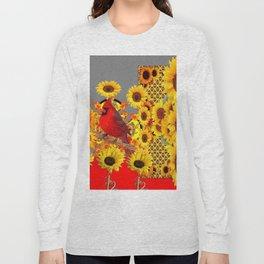 MODERN ABSTRACT RED CARDINAL YELLOW SUNFLOWERS GREY ART Long Sleeve T-shirt