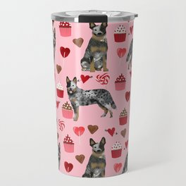 Australian Cattle Dog blue heeler valentines day cupcakes hearts love dog breed Travel Mug