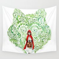 red riding hood Wall Tapestries featuring Red Riding Hood by Stephane Lauzon