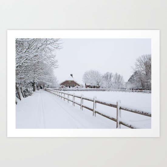 Farm House in the Snow Art Print